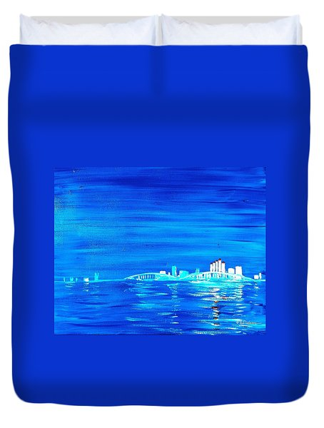 Fort Myers By Night Duvet Cover