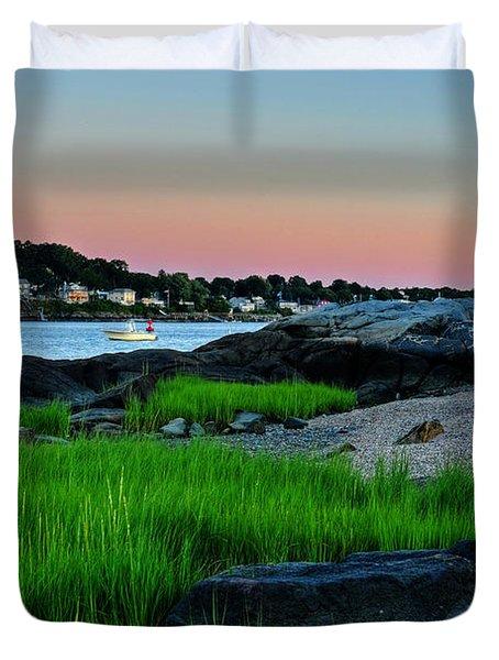 Fort Pickering Light Through The Tall Grass Salem Ma Duvet Cover