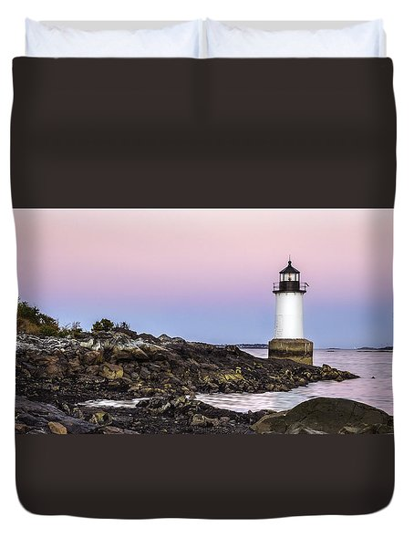 Fort Pickering Lighthouse, Harvest Supermoon, Salem, Ma Duvet Cover