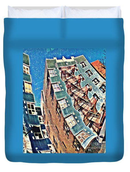 Fort Washington Avenue Building Duvet Cover by Sarah Loft