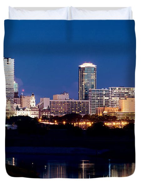Fort Worth Skyline At Night Poster Duvet Cover