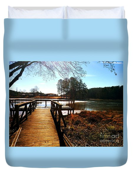 Duvet Cover featuring the photograph Fort Yargo Boardwalk by Utopia Concepts