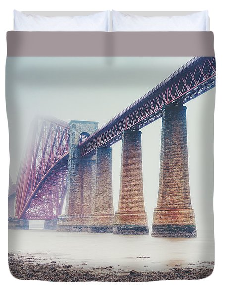 Duvet Cover featuring the photograph Forth Bridge Rain by Ray Devlin