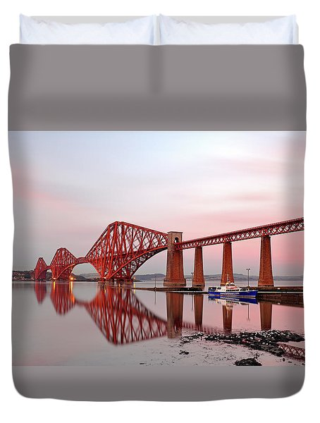 Duvet Cover featuring the photograph Forth Railway Bridge Sunset by Grant Glendinning