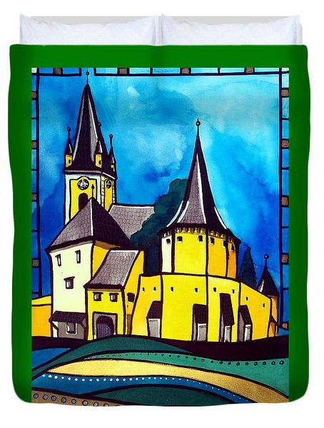 Fortified Medieval Church In Transylvania By Dora Hathazi Mendes Duvet Cover