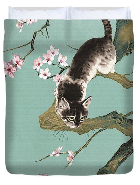 Fortune Cat In Cherry Tree Duvet Cover