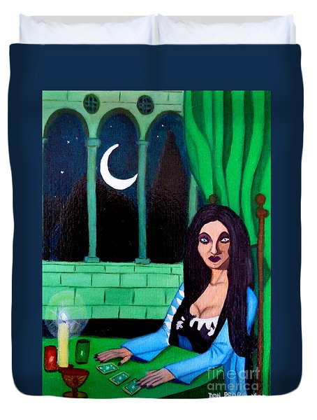 Duvet Cover featuring the painting Fortune Teller by Don Pedro De Gracia