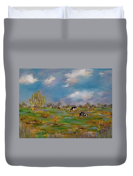 Duvet Cover featuring the painting Forty Acres by Judith Rhue