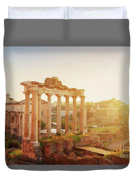 Forum - Roman Ruins In Rome At Sunrise Duvet Cover
