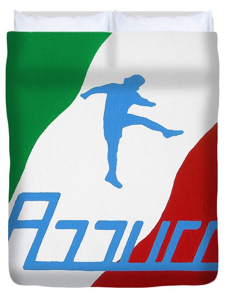 Forza Azzurri Duvet Cover by Oliver Johnston