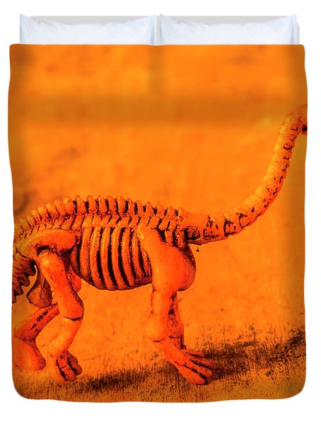 Fossilised Exhibit In Toy Dinosaurs Duvet Cover