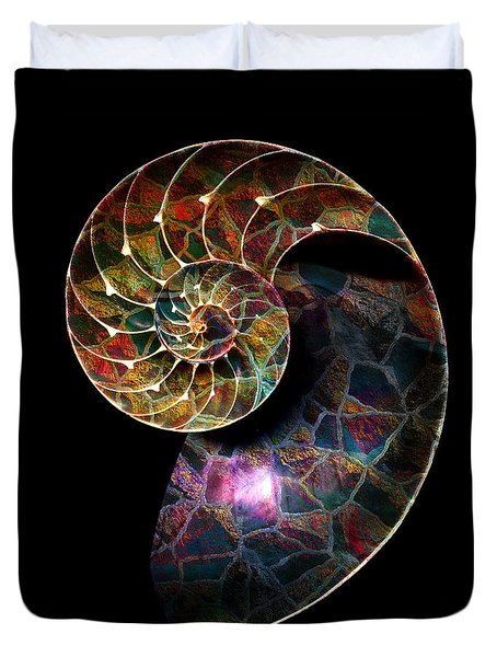 Duvet Cover featuring the digital art Fossilized Nautilus Shell by Klara Acel
