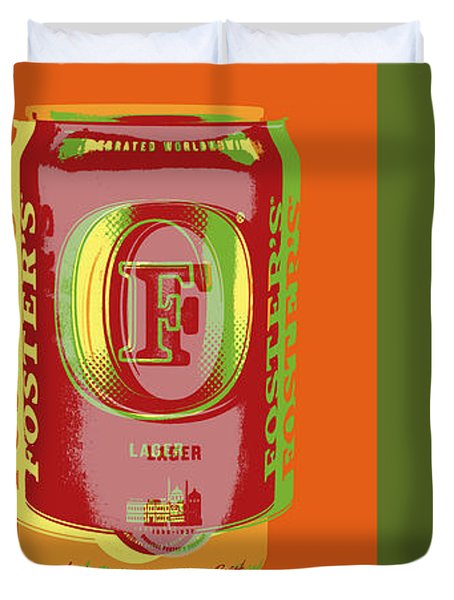Duvet Cover featuring the digital art Foster's Lager Pop Art by Jean luc Comperat