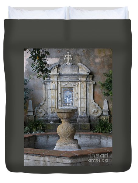 Fountain At Mission Carmel Duvet Cover