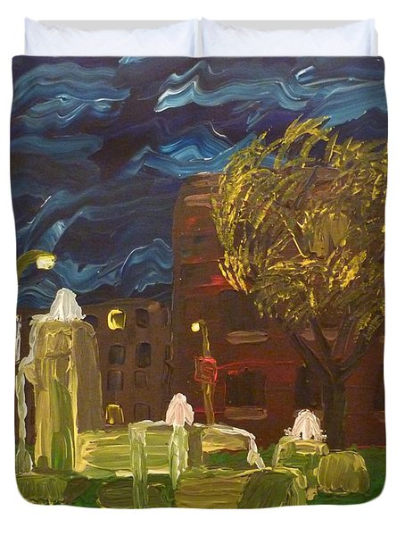 Duvet Cover featuring the painting Fountain At Night by Joshua Redman