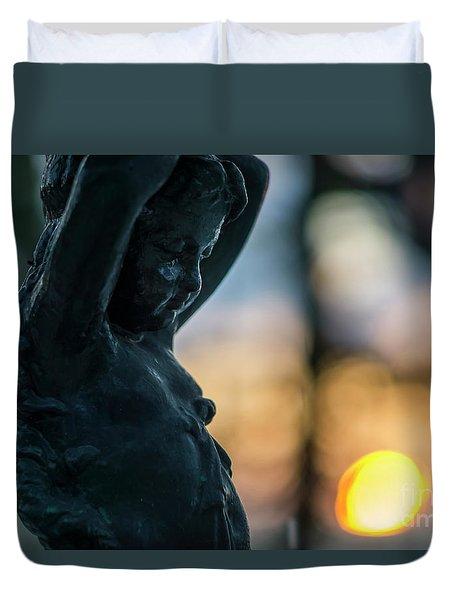 Duvet Cover featuring the photograph Fountain At Sunset Alameda Apodaca Cadiz Spain by Pablo Avanzini