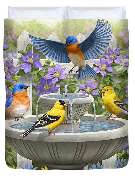 Fountain Festivities - Birds And Birdbath Painting Duvet Cover