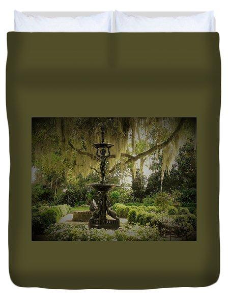 Fountain In A Garden Duvet Cover