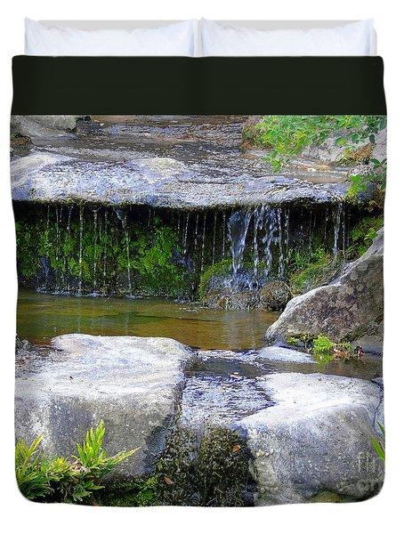 Fountain In A Japanese Garden Duvet Cover