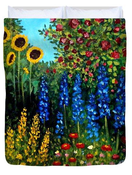 Fountain Of Flowers Duvet Cover