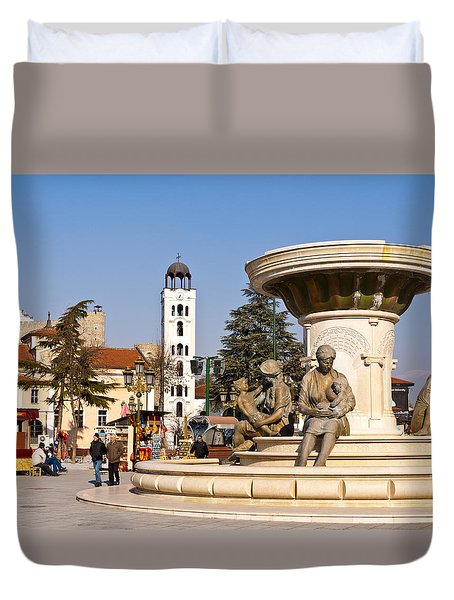 Fountain Of The Mothers Duvet Cover by Rae Tucker