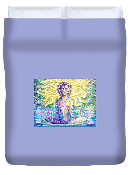 Duvet Cover featuring the painting Fountain Of Youth by Anya Heller