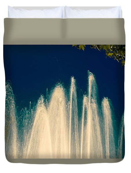 Fountain Stream By Night Duvet Cover by Vlad Baciu