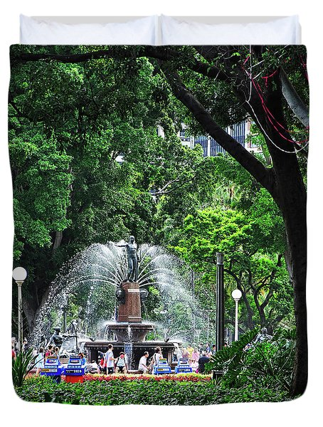 Duvet Cover featuring the photograph Fountain Through The Trees By Kaye Menner by Kaye Menner