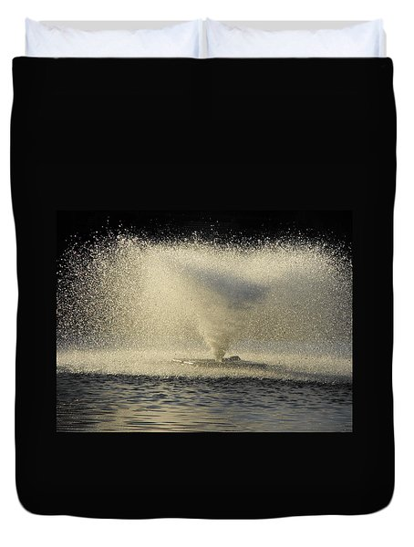 Fountain Tornado Illuminating The Shadow Duvet Cover