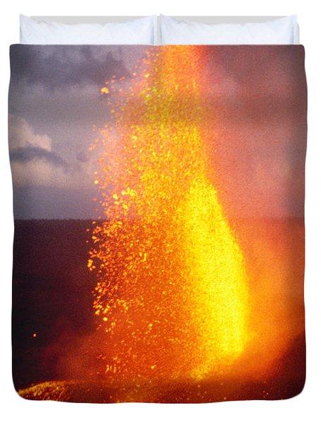 Fountaining Kilauea Duvet Cover by Allan Seiden - Printscapes