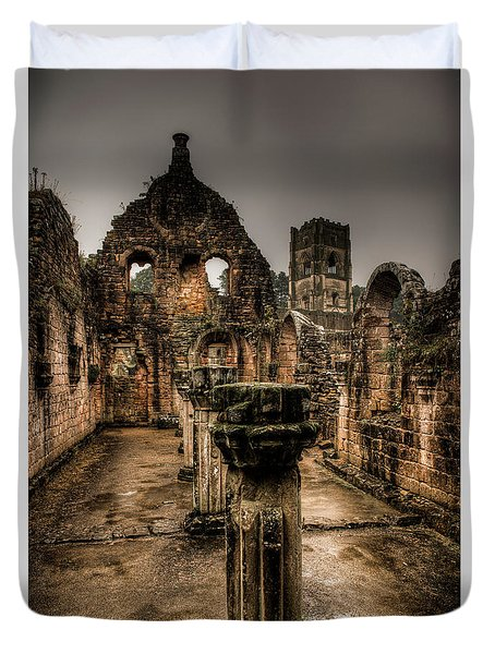 Fountains Abbey In Pouring Rain Duvet Cover