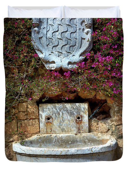 Duvet Cover featuring the photograph Fountains And Flowers At The Roman Walls In Tarragona by Eduardo Jose Accorinti