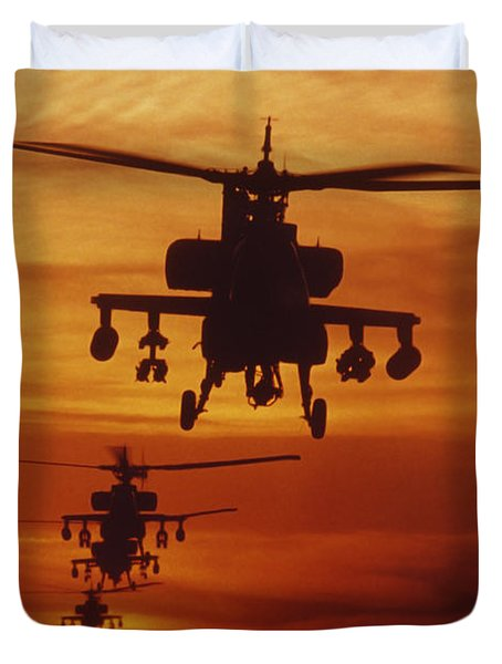 Duvet Cover featuring the photograph Four Ah-64 Apache Anti-armor by Stocktrek Images