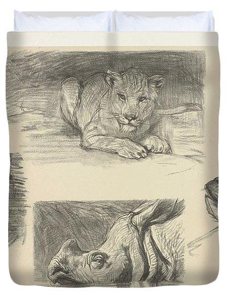 Four Animals, August Allebe, 1848 - 1927 Duvet Cover