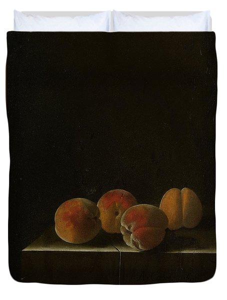 Four Apricots On A Stone Plinth Duvet Cover