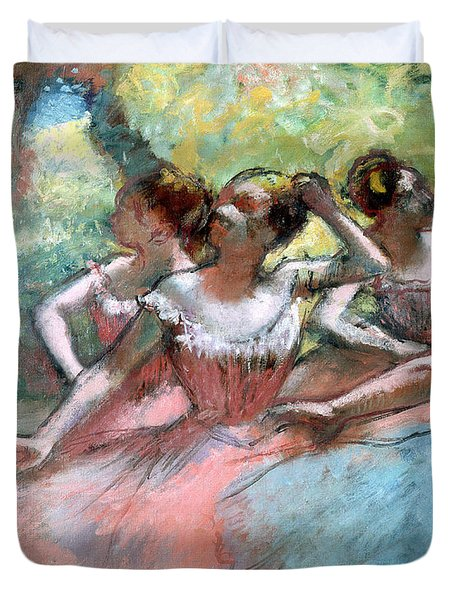 Four Ballerinas On The Stage Duvet Cover