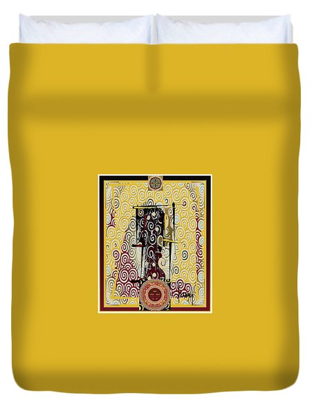 Duvet Cover featuring the mixed media Four Blessings Double Happiness Japanese Kimono by Larry Talley