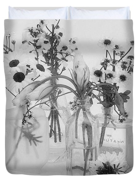 Four Bottles And Their Flowers Duvet Cover by Sandra Foster