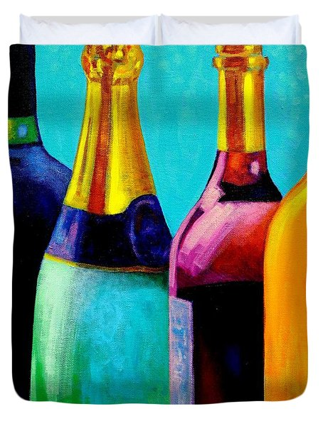 Four Bottles Duvet Cover by John  Nolan
