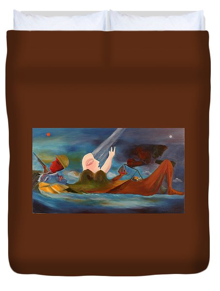 Duvet Cover featuring the painting Four Classes In The World Large Oil Painting Abstract Conceptual Art by Geeta Biswas