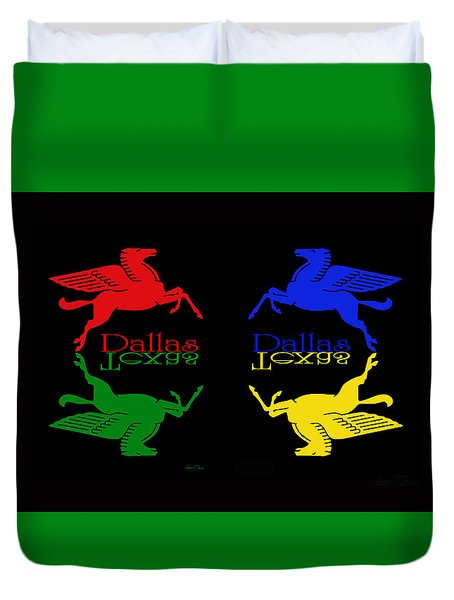Four Color Dallas Pegasus Duvet Cover by Robert J Sadler