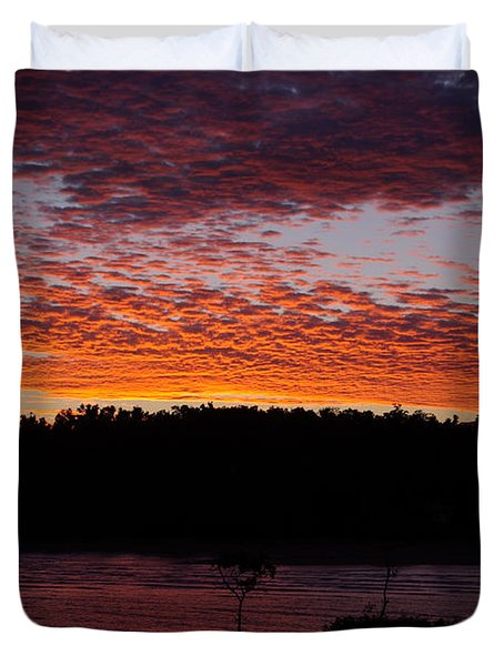 Duvet Cover featuring the photograph Four Elements Sunset Sequence 2 Coconuts Qld by Kerryn Madsen - Pietsch
