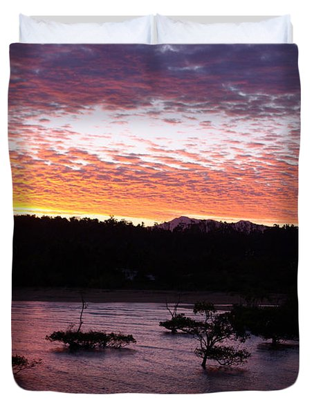 Duvet Cover featuring the photograph Four Elements Sunset Sequence 3 Coconuts Qld by Kerryn Madsen - Pietsch