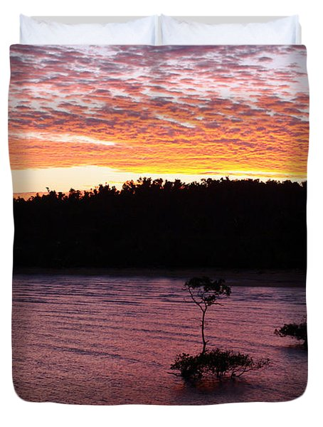 Duvet Cover featuring the photograph Four Elements Sunset Sequence 5 Coconuts Qld  by Kerryn Madsen - Pietsch