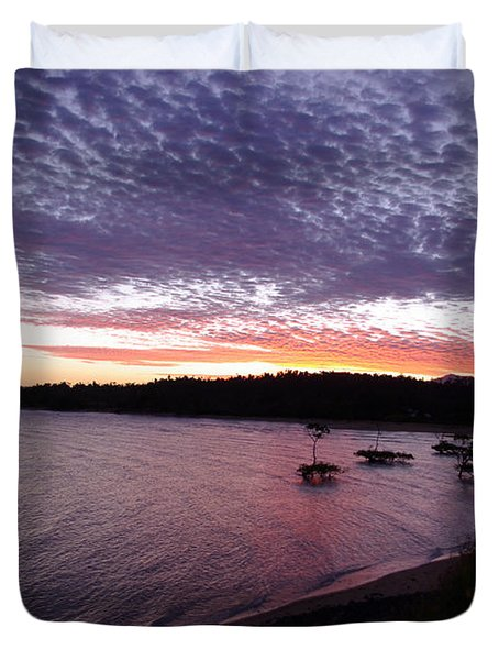 Duvet Cover featuring the photograph Four Elements Sunset Sequence 6 Coconuts Qld  by Kerryn Madsen-Pietsch