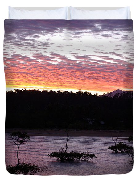 Duvet Cover featuring the photograph Four Elements Sunset Sequence 8 Coconuts Qld  by Kerryn Madsen - Pietsch
