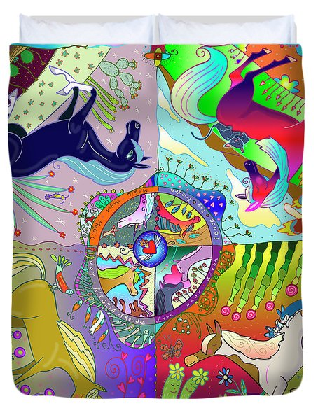 Duvet Cover featuring the digital art Four Fabulous Horses by Marti McGinnis