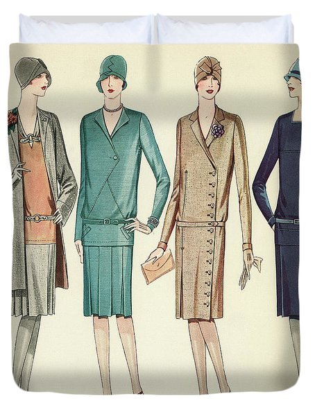 Four Flappers Modelling French Designer Outfits, 1928 Duvet Cover