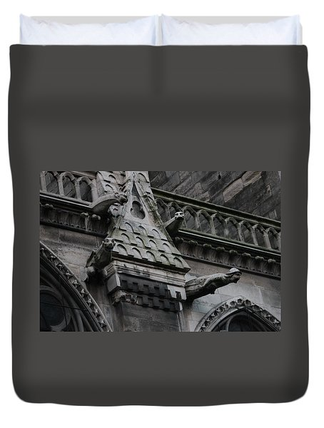 Duvet Cover featuring the photograph Four Gargoyles On Notre Dame North by Christopher Kirby