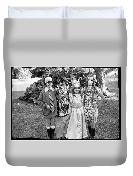Four Girls In Halloween Costumes, 1971, Part One Duvet Cover